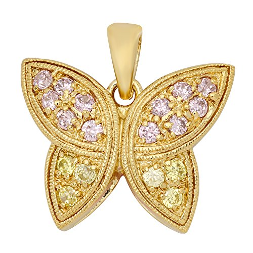 The Bling Factory Gold Plated Butterfly Pendant Accented w/Pink & Yellow CZs + Microfiber Jewelry Polishing Cloth