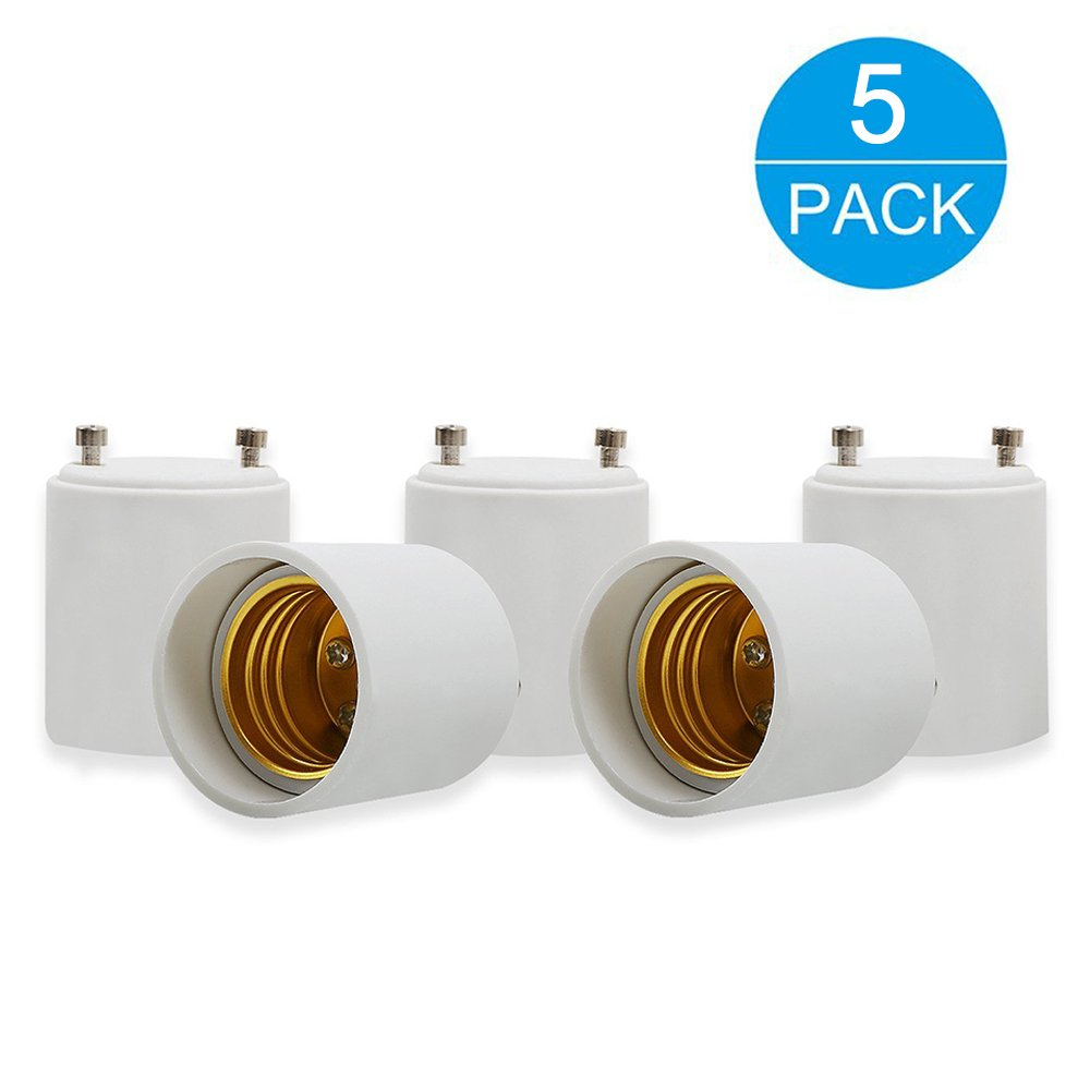 Electop 5-Pack GU24 to E26/E27 LED Bulb Base Adapter Converters Light Sockets Lamp Holder