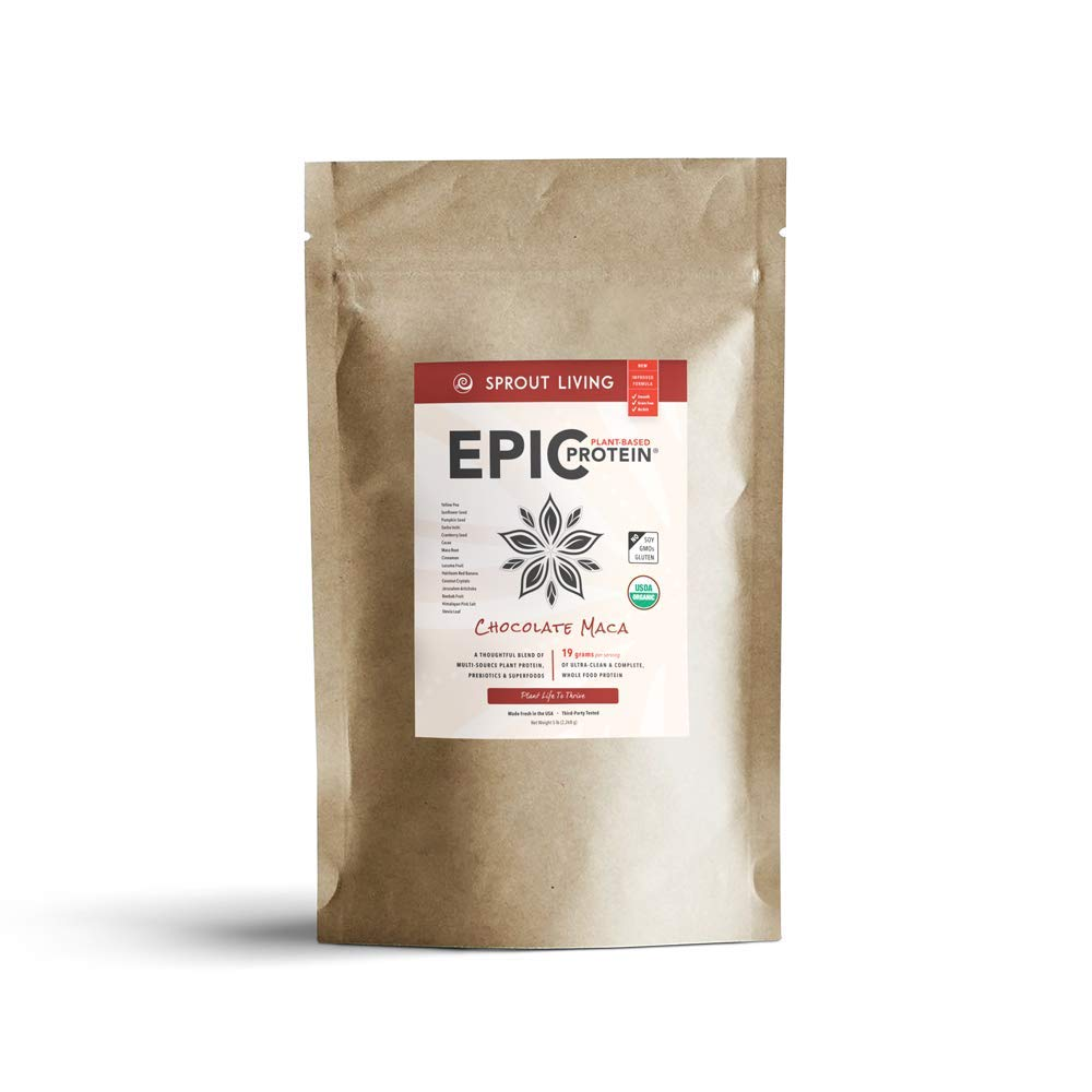 Sprout Living Epic Protein Powder, Chocolate Maca Flavor, Organic Plant Protein, No Additives, Gluten Free, 19 Grams Clean Vegan Protein (5 pounds, 65 Servings)