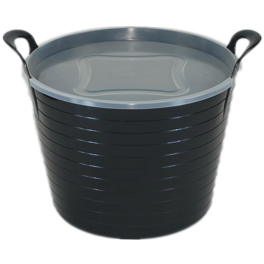 42L BLACK FLEXI TUB WITH LID, TRUG, FEEDING BUCKET, WATER BUCKET, GARDEN, FLEXIBLE KETO PLASTICS