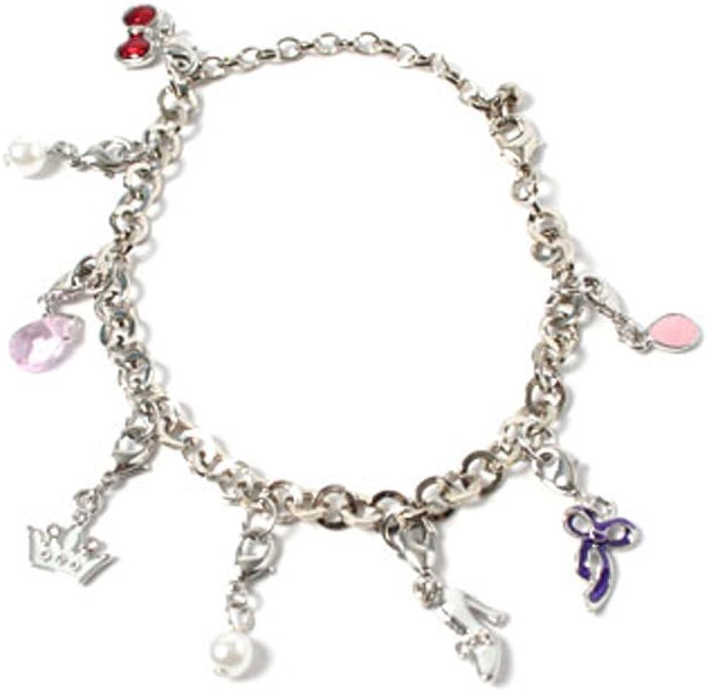 Pulsera de color plateado con adornos en color blanco, rojo, Rosa y Lila para corona lazos de perlas gota