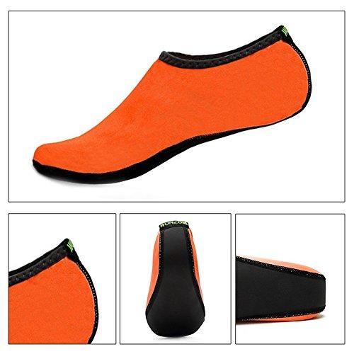 WONZOM FASHION Frauen Barfuß Wasserhaut Schuhe Quick-Dry Aqua Socken für Beach Pool Schwimmen Dive Surf Yoga Orange