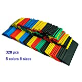 SummitLink® Pack of 328 Pcs Assorted Heat Shrink Tube Tubing Wrap Sleeve Set Combo 5 Colors 8 Sizes