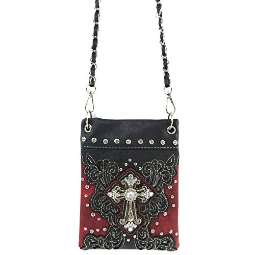 Body Messenger Floral with Cross Rhinestone Red Bling Pouch Purse Gleam Long Bag West Justin Only Cross Strap wF7qYSx