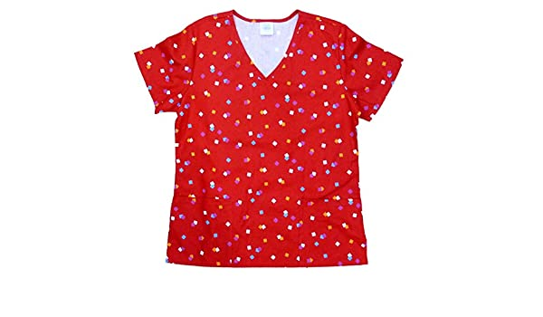 c85d10d3322 Amazon.com: Simply Basic Womens Red Confetti Medical Smock Nurse Scrubs  Shirt Top Small: Clothing