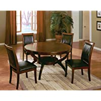 Set of 2 High Back Side Chair with Bycast Venyle Espresso in Walnut Finish ADS90127