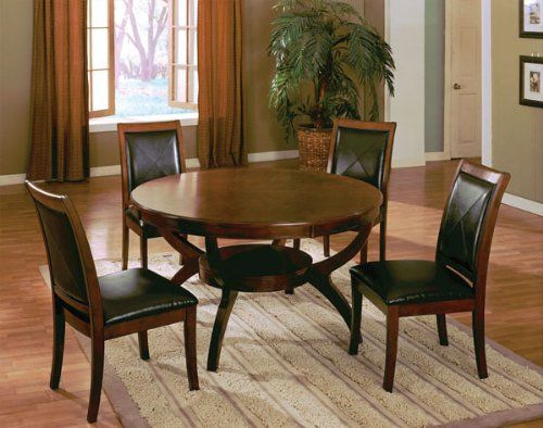 Wooden Round Dining Table and 4 High Back Side Chair with Bycast Venyle Espresso in Walnut Finish ADS90126,90127