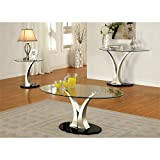 Furniture of America Mansa 2 Piece Glass-Top Table Set in Satin Plated Review