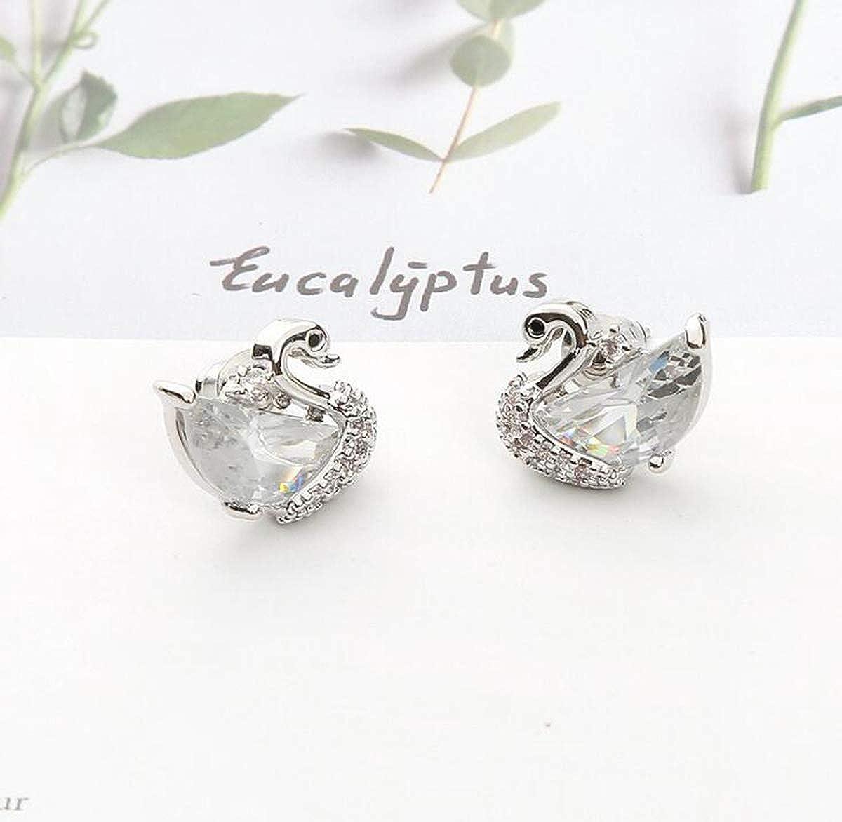 Libaraba Copper Gemstone and Zirconia Accent Swan Stud Earrings with Jewelry Box,Swan Earrings for Women Silver