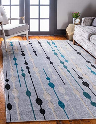 Unique Loom Outdoor Modern Collection Carved Abstract Transitional Indoor and Outdoor Flatweave Gray Area Rug 8 0 x 10 0