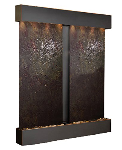 Adagio Water Fountains - Cottonwood Falls Water Feature with Blackened Copper Trim and Square Edges (Multi-color FeatherStone)