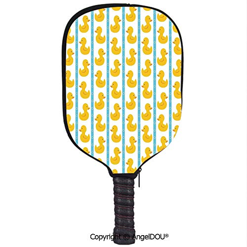 AngelDOU Rubber Duck Waterproof Zipper Single Pickleball Paddle Racket Cover Case Yellow Duckies with Blue Stripes and Small Circles Baby Nursery Play Toys Pattern for for Most Rackets.White