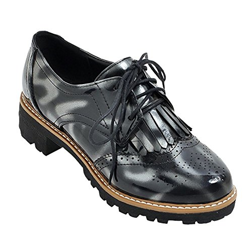 Up Shoes Oxford Foot Lace Western Black Women's Tassels Floral Charm Low Heel xwqFaUYY
