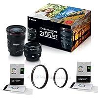 Canon EF 17-40mm f/4L USM / EF 50mm f/1.4 USM, Advanced 2 Lens Kit - Bundle With 58mm UV Filter, 77mm UV Filter, 2x Lens Cleaning Tissue Paper