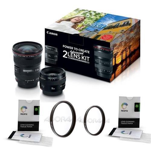 Canon EF 17-40mm f/4L USM / EF 50mm f/1.4 USM, Advanced 2 Lens Kit - Bundle With 58mm UV Filter, 77mm UV Filter, 2x Lens Cleaning Tissue Paper (Two Kit Lens)