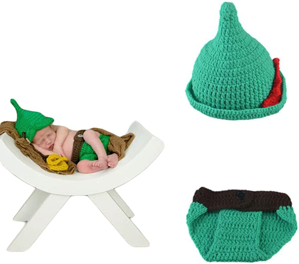 Newborn Photography Props Infant Handmade Costume Hat Cute Green Peter Pan Knitted Crochet Outfits Clothes for Baby Shower