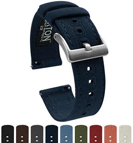 BARTON Canvas Quick Release Watch Band Straps - Choose Color & Width - 18mm, 20mm, 22mm - Navy Blue 18mm