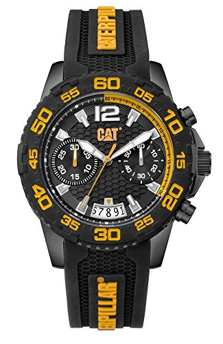 Yellow Mens Chronograph - CAT Men's PW Driver Chronograph Watch Black & Yellow Dial Black & Yellow Strap PW16321127