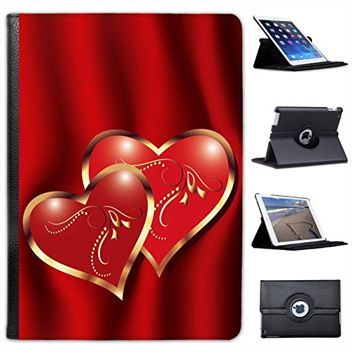 Elegant Pair Of Hearts On Deep Red Background For Apple iPad Air 2 [2014 Version] Faux Leather Folio Presenter Case Cover Bag with Stand Capability