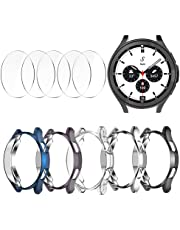 [5+5 Pack] Case Compatible for Samsung Galaxy Watch 4 Classic 46mm, Plated TPU Bumper Cover+5 Tempered Glass Screen Protector Films for Galaxy Watch4 Accessories