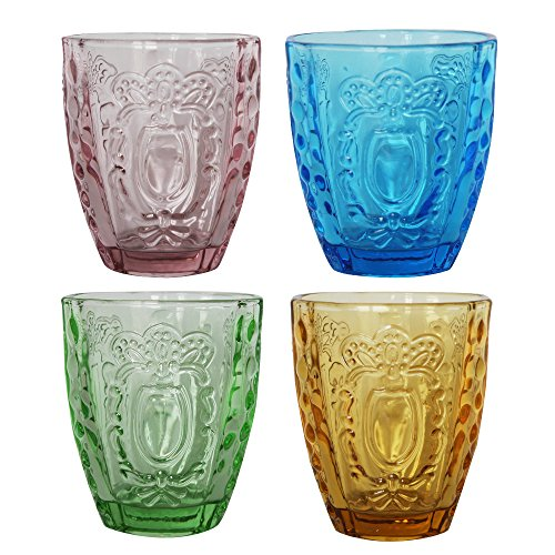 (Drinking Glasses 4Pcs, Colored Premium Heavy Glassware, 12oz Multicolor Glass Tumbler Gift for )