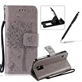 Strap Leather Case for Samsung Galaxy S5,Bookstyle Magnetic [Grey Solid Color] Stand Flip Case for Samsung Galaxy S5,Herzzer Premium Elegant Butterfly Tree Cat Print Fold Wallet Folio Smart Case For Samsung Galaxy S5 + 1 x Black Cellphone Kickstand + 1 x Black Stylus Pen
