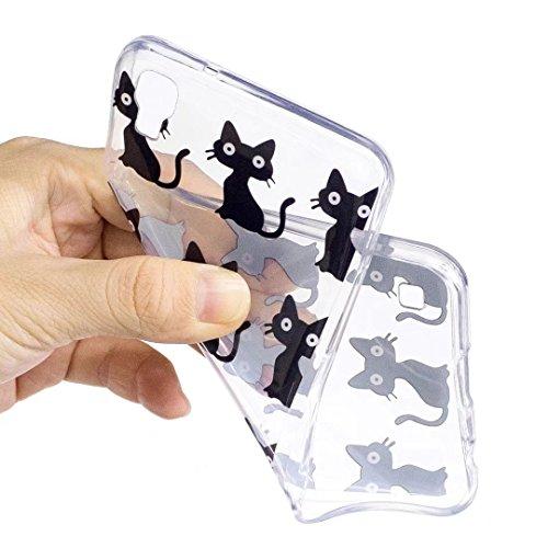 Funda Moto G4 Play silicona suave TPU transparente Claro Animal y flor delgado contraportada Cubierta protectora por JOYTAG-pingüino Gato negro