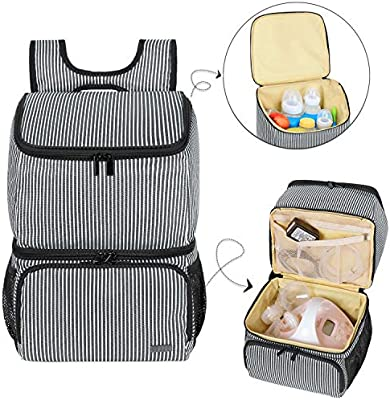 Insulated Breastmilk Cooler Bag Breast Pump Backpack Waterproof Double Layer Bottle Lunch Tote Bag Diaper Bag for Breastfeeding Mom Work Panic Travel Walmeck Breast Pump Bag