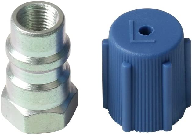 "1 Set Universal Retrofit Valve & Blue Dust Cap Fit 7/16"" Low Side Port -for All Motors Converting from R-12 to R-134A 51rnW2BgNS7L"