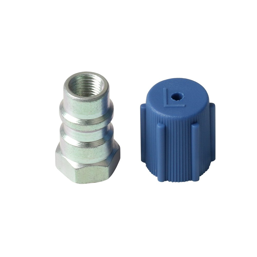 1 Set Universal Retrofit Valve & Blue Dust Cap Fit 7/16'' Low Side Port -for All Motors Converting from R-12 to R-134A