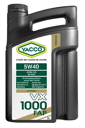 Aceite para motor Yacco 5W40 VX 1000 FAP, garrafa de 5 l: Amazon.es: Coche y moto