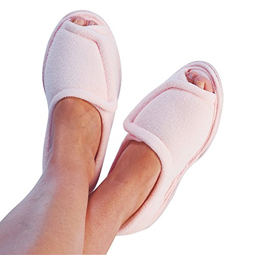 womens-clinic-comfort-terry-cloth-slippers-pink-wide-width-large