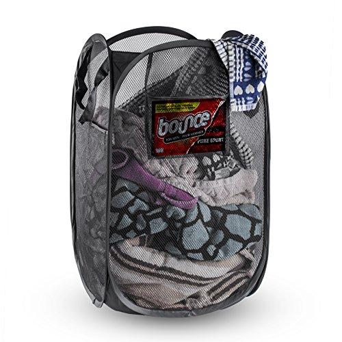 NYHI Foldable Pop-Up Mesh Hamper, Laundry Hamper with Reinforced Carry Handles (Rectangle, Black)