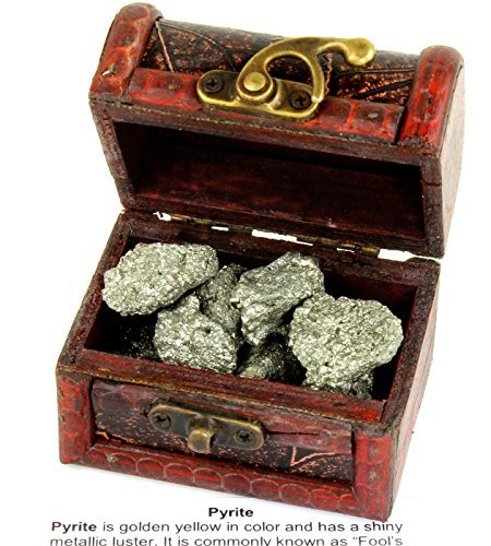 Fool's Gold Pyrite Nuggets in Treasure Chest, BONUS: 3 Arrowheads and Educational ID card, Great Birthday Gifts for Kids and Adults, Crystal Healing, Positive Energy, Good Luck, Dancing Bear brand