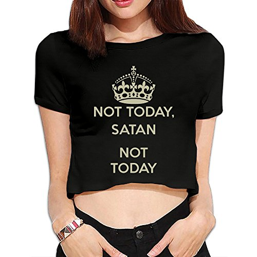 Qbeir Not Today Womens Crop Top Anti Shrink Round Neck Short Sleeve T Shirt Clothes