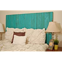 Turquoise Weathered Look - California King Hanger Headboard with Vertical Boards.