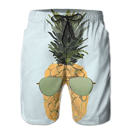 Mens Beach Shorts, Pineapple Sunglasses Sexy Hot Shorts for Men Boys, Outdoor Short Pants Beach Accessories by Kurabam