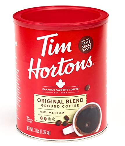 Tim Hortons Original Blend, Medium Roast Ground Coffee, Made with 100% Arabica Beans, 48 Ounce Canister