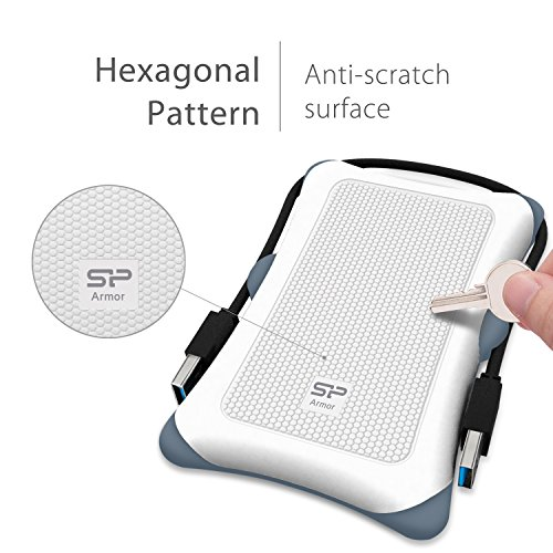 Silicon Power 2TB Type C External Hard Drive USB 3.0 Rugged Armor A30 Military-Grade Shockproof, Dual Cables Included  (Type C to Type A & Type A to Type A), White by Silicon Power (Image #3)