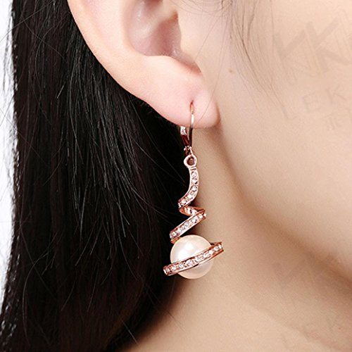 Auwer Gold Plated Imitation Pearl Spiral Design Zircon Hoop Drop Earrings Rhombus Earring Jewelry Woman (Rose Gold)