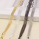 YOMYM Women's Rhinestone Replacement Bra Shoulder Straps Removable Crystal Strap with 6 Chains