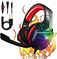 【2021 Upgrade】 7.1 Stereo Surround Sound with Mic PC Headset 50mm Drivers Noise Canceling Over Ear Headphones