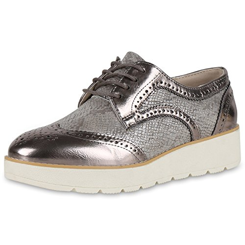 Damen Halbschuhe Dandy Style Brogues Profilsohle High Fashion Jennika Grau Grau Metallic