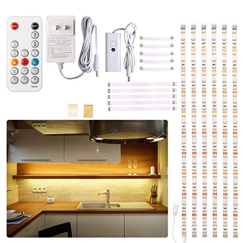 Under Cabinet LED Lighting kit, 6 PCS LED Strip Lights with Remote Control Dimmer and Adapter, Dimmable for Kitchen…