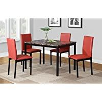 Roundhill Furniture D007RD 5 Piece Citico Metal Dinette Set with Laminated Faux Marble Top, Red