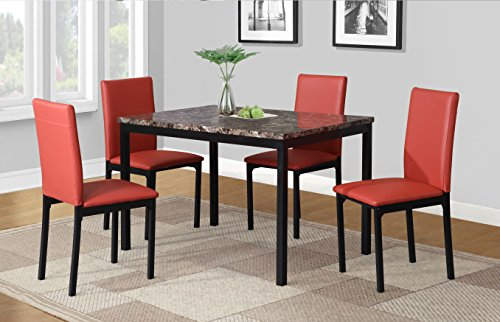 (Roundhill Furniture D007RD 5 Piece Citico Metal Dinette Set with Laminated Faux Marble Top, Red)