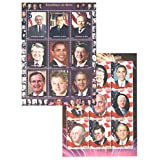 Stamps for collectors - US President stamps in collection - 2 mint and never mounted sheets of thematic stamps featuring US presidents from history. Ideal for stamp collecting. 18 mint condition stamps - never hinged - Part of a set