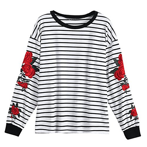 Striped 2fer Top - Long Sleeve Striped Tops for Women Round Neck T-Shirt Casual Blouses Pullover