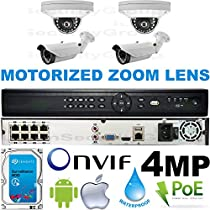 USG Business Grade 4MP 2592x1520 4 Camera HD Security System : 16 Channel 6MP Security NVR + 2x Dome 2.8mm & 2x Bullet Motorized 2.8-12mm Cameras + 1x 2TB HDD : Apple Android Phone App