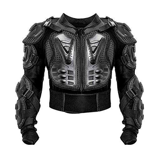 Motorcycle Full Body Armor Protective Jacket ATV Guard Shirt Gear Jacket Armor Pro Street Motocross Protector with Back Protection Men Women for Off-Road Racing Dirt Bike Skiing Skating Black XL